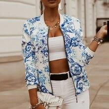 Women Bomber Jacket Fashion Flower Print Long Sleeve Casual Zipper Up Vintage Ladies Coat Tops Elega