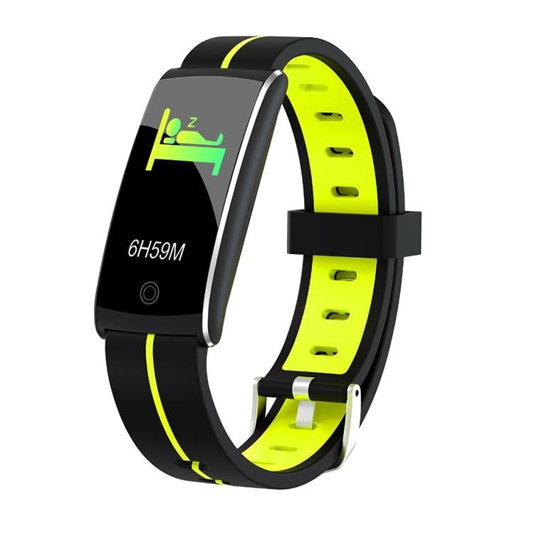 F10C Smart Watch Ip68 Waterproof Bracelet Band Stopwatch Blood Pressure Monitor Heart Rate Fitness Tracker Wristband Yellow