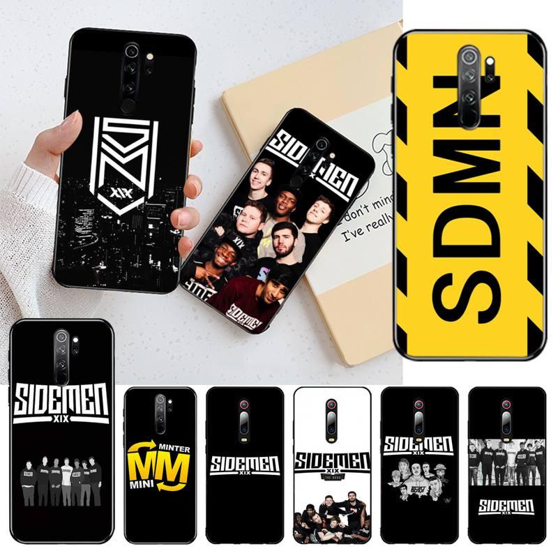 HPCHCJHM Sidemen logo negro TPU funda de teléfono de goma suave para Redmi Note 8 8A 8T 7 6 6A 5 5A 4 4X 4A Go Pro