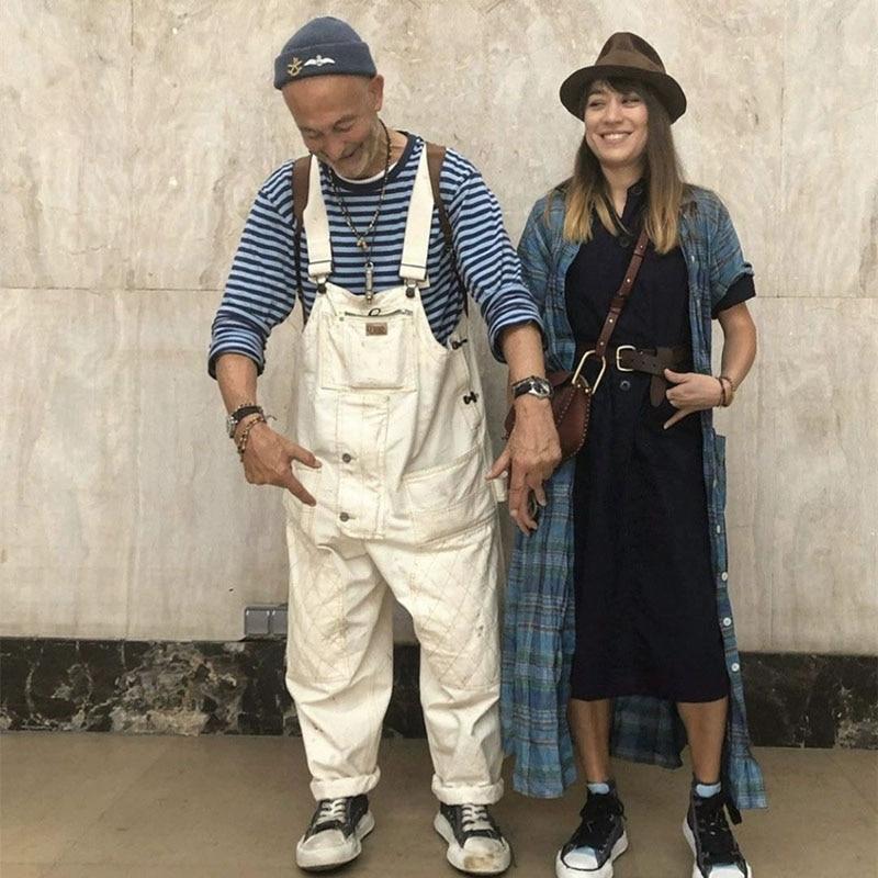 Men Streetwear Hip Hop Jumpsuit Overalls Japan Harajuku Men Women Couple Loose Casual Wide Leg Cargo Pants Bib Harem Trousers