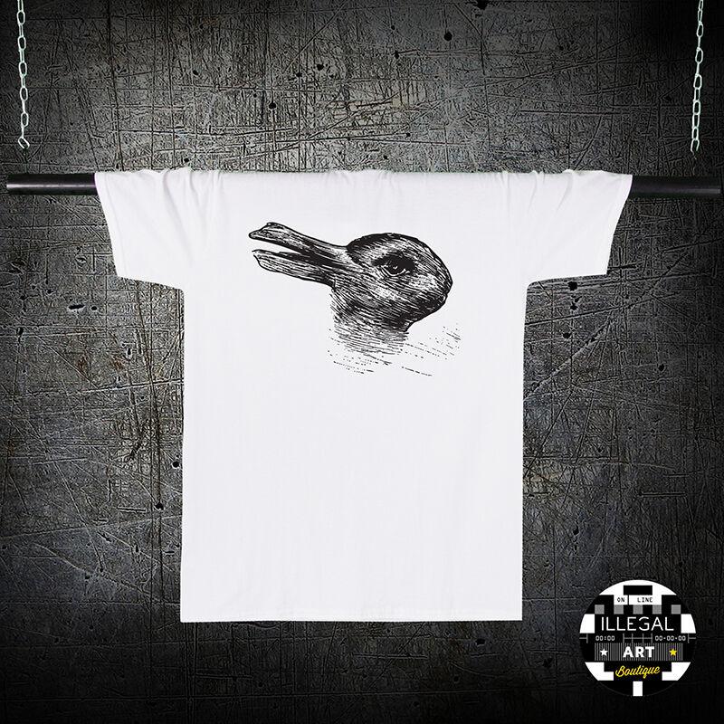 É um coelho ou um pato t camisa camisola ilusão óptica arte desenho topo novo