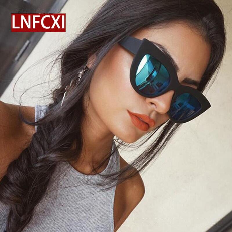 LNFCXI 2020, gafas para mujer, gafas de sol de ojo de gato, lentes de Color teñidos para mujer, gafas de sol de forma clásica para hombre y mujer