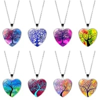 tree of life bohemian style necklace glass heart charm necklace love pendant fashion tree of life pendant necklace women jewelry