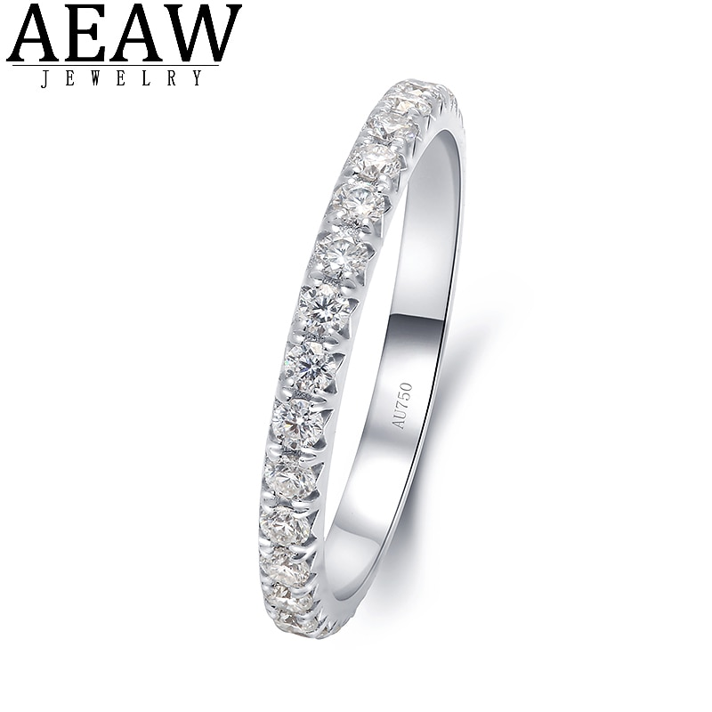 Promo Real 14k White Gold Fine Moissanie Gold Ring Band D Color VVS1 Round Cut Moissanite Jewelry Gift for Women Lady