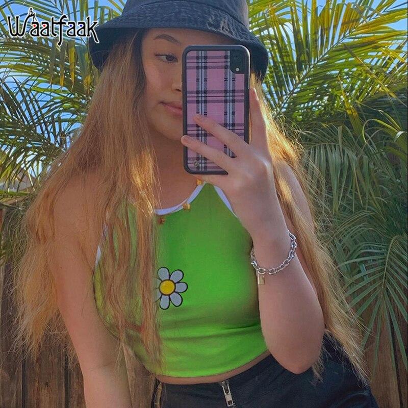 Женский укороченный топ с цветочным принтом Waatfaak, неоновый зеленый облегающий топ-бюстье для фитнеса, 2020