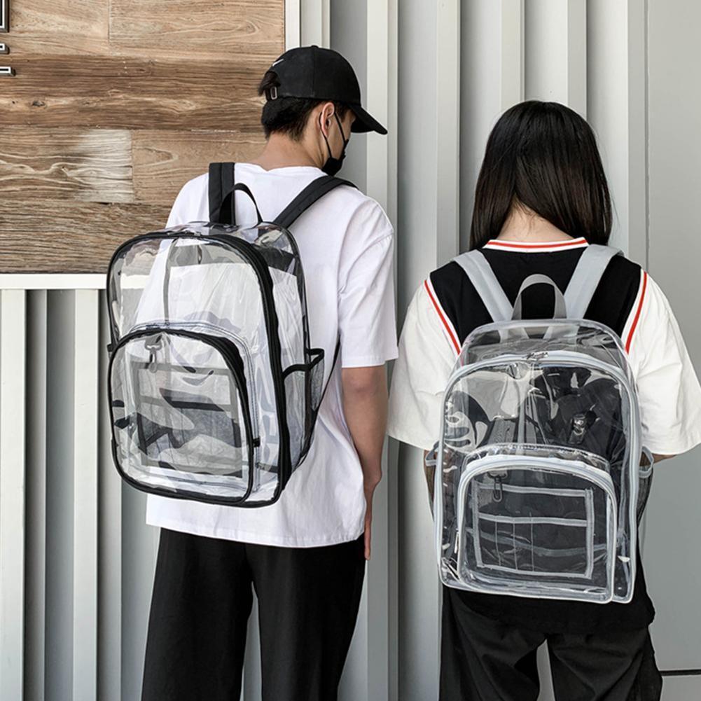 Transparent Backpack Waterproof School Student Jelly Bag Unisex Fashion PVC Backpack Large Capacity Travel Dual Shoulder Bag недорого