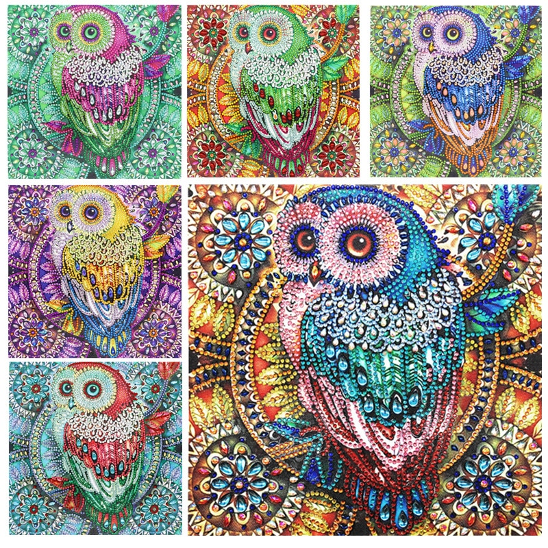 5D DIY Diamond Painting Special Diamond Embroidery Flower Tree Owl Diamond Painting Rhinestone Crystal Home Decoration
