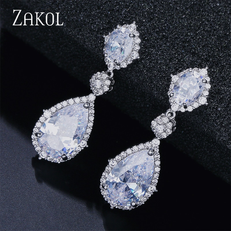ZAKOL nueva elegante AAA Zirconia cúbica agua en forma de gota pendientes de cristal colgantes joyería larga de la boda para las novias FSEP2034