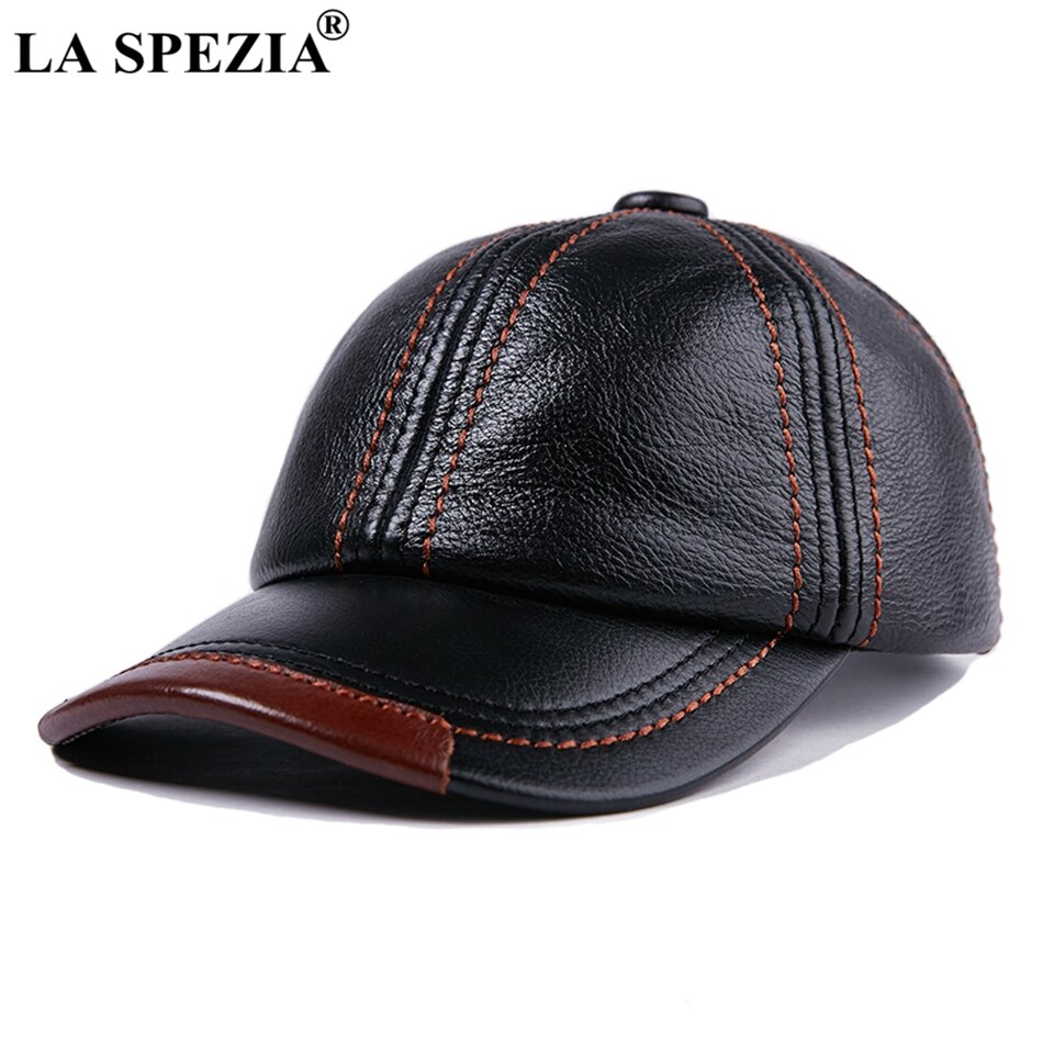 aorice new winter cotton cap genuine leather baseball cap hat men s real leather adult adjustable solid hats caps 3 colors hl132 LA SPEZIA Genuine Leather Baseball Cap Men Black Cowhide Hat Snapback Male Adjustable Autumn Winter Real Leather Peaked Hats
