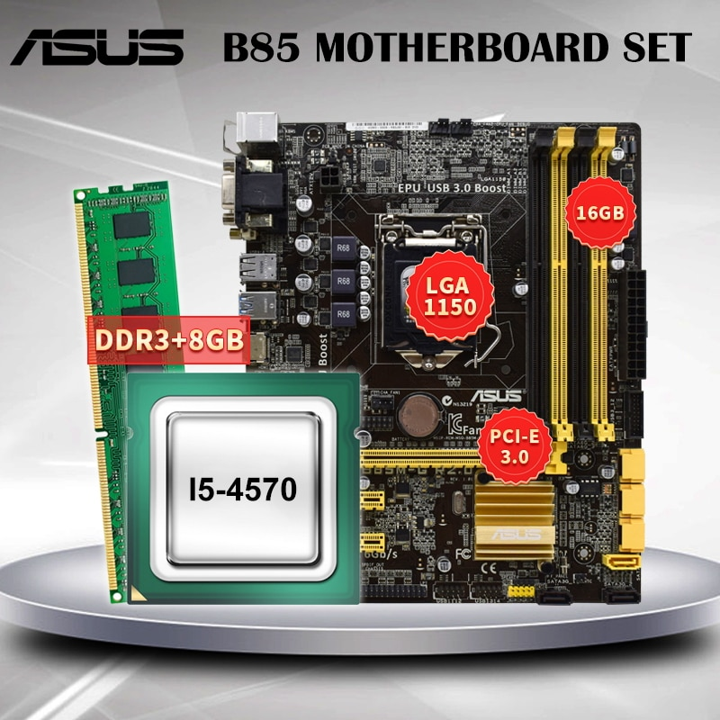 [해외] ASUS B85 마더 보드 LGA 1150 세트 키트, 인텔 I5-4570 프로세서 및 8GB DDR3 RAM 마더 보드 3.3GHz USB3.0 B85M-G r2.0.