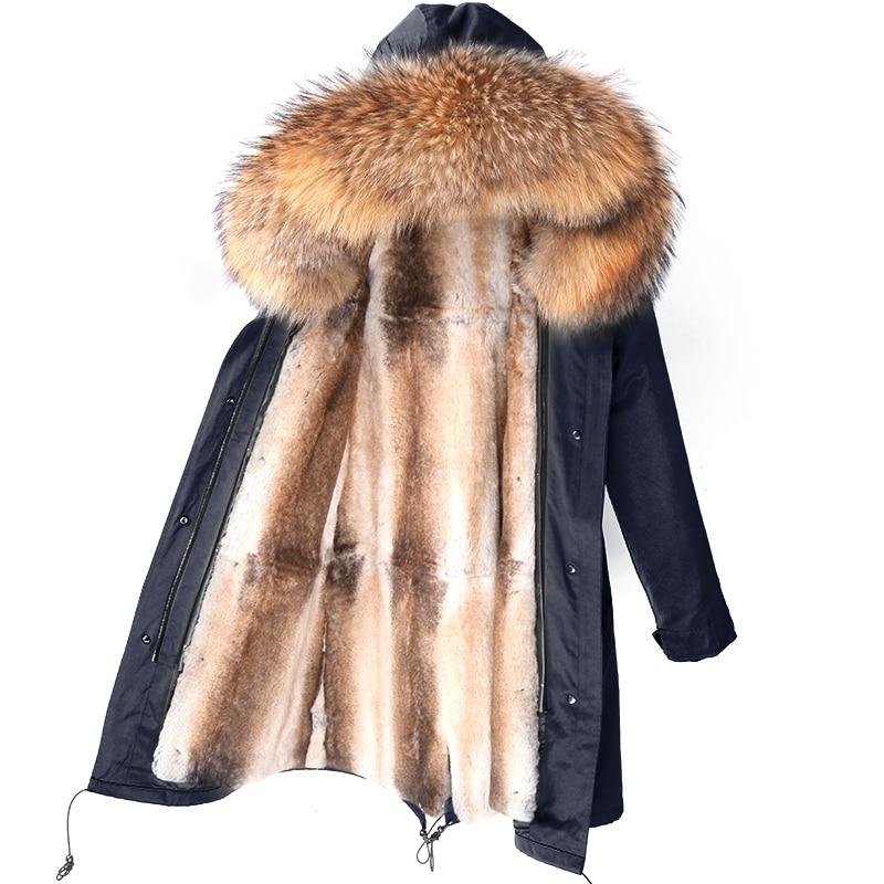 2021 مقاوم للماء الرجال سترة الشتاء سترة طويلة الأرنب معطف الفرو رجل سترات الطبيعية الثعلب الفراء طوق مقنعين ملابس خارجية الشارع الشهير