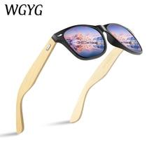 WGYG   Wood Sunglasses Men women square bamboo Women for women men Mirror Sun Glasses retro de sol m