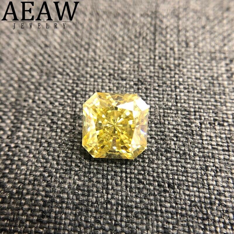Cuadrado de corte radiante de 1,0 quilates de Color amarillo piedra suelta de molissanita VVS excelente corte de calidad de prueba de diamante de laboratorio positivo