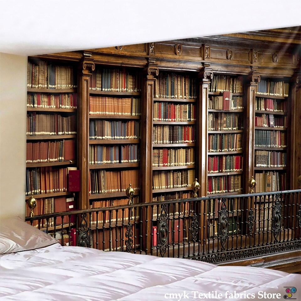 Гобелен в стиле ретро, волшебный книжный шкаф, таинственные гобелены для библиотеки, настенные декоративные гобелены, спальни, гостиной, до...