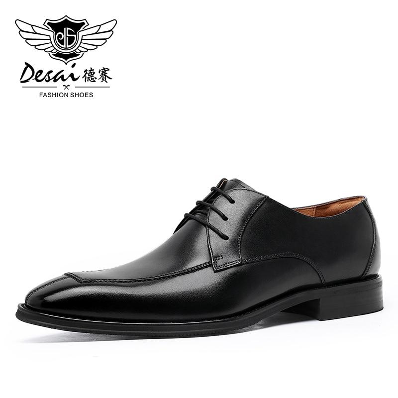 Desai-أحذية جلدية للرجال باللون الأسود والبني ، أحذية رياضية لفساتين الزفاف ، هدايا الكريسماس ، الشتاء ، 2020