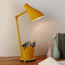Lampes de Table artistiques modernes pour étude de chambre à coucher 360 degrés lumière de Table en fer réglable contiennent stylo conteneur lampe de bureau