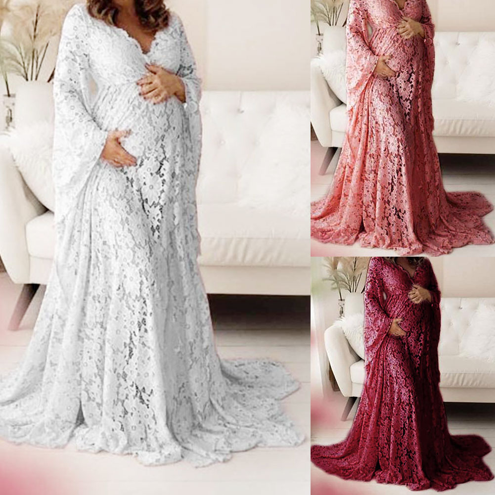New Pregnant Women Photography Clothing Exquisite Lace Strapless Tube Top Dress Dress Mop The Floor Long Skirt Maternity Dress