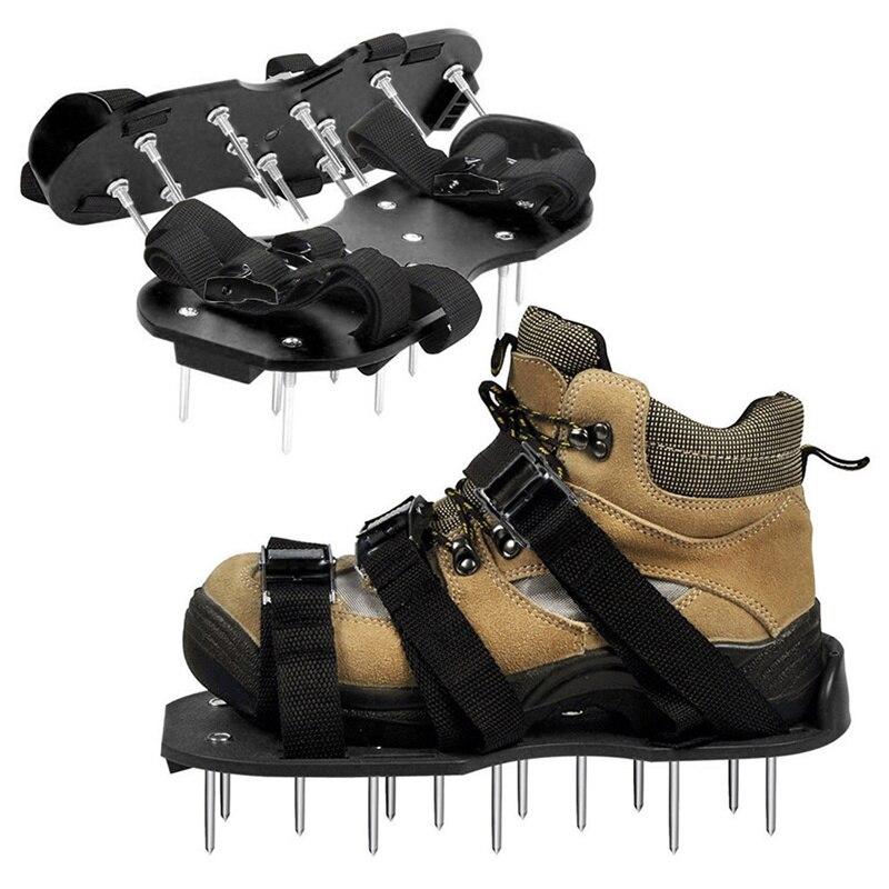 Газон Газон Аэратор обувь сандалии аэрации шип трава пара зеленый шипами инструмент рыхлый грунт обувь черный 30X13CM #2h29