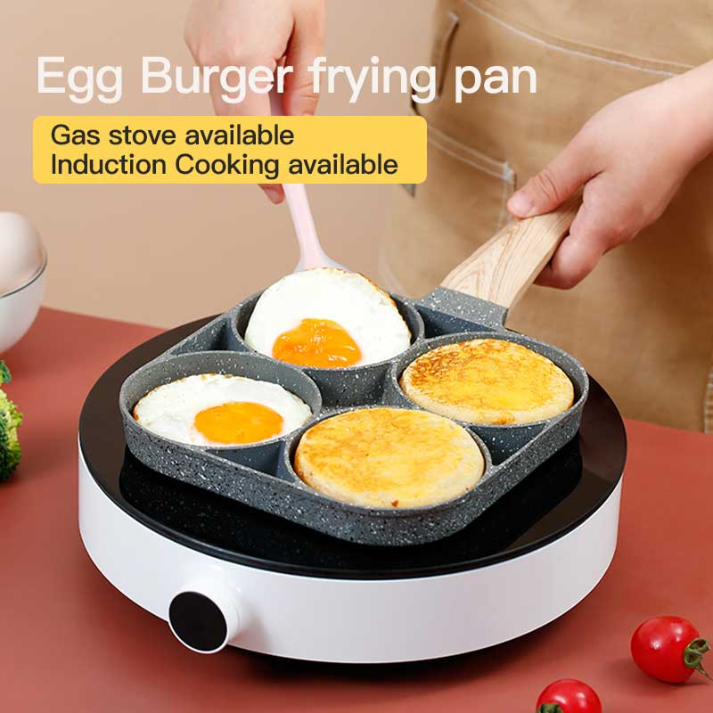 4 ثقوب Fring وعاء عموم البيض المقلي غير عصا صغيرة مسطحة القاع المنزلية الإفطار صانع البيض برغر نموذج تجهيزات المطابخ مقلاة