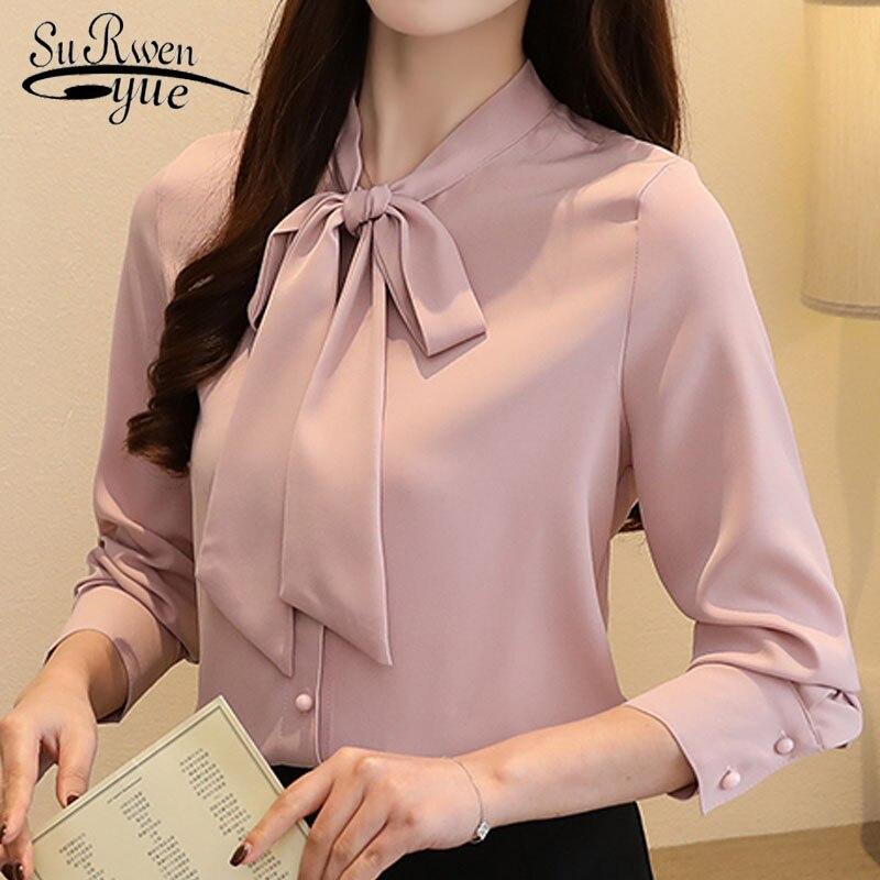 Осень 2018, модная женская блузка, корейский стиль, деловой наряд, темперамент, длинный рукав, бант из ленты, шифоновые женские рубашки, 45
