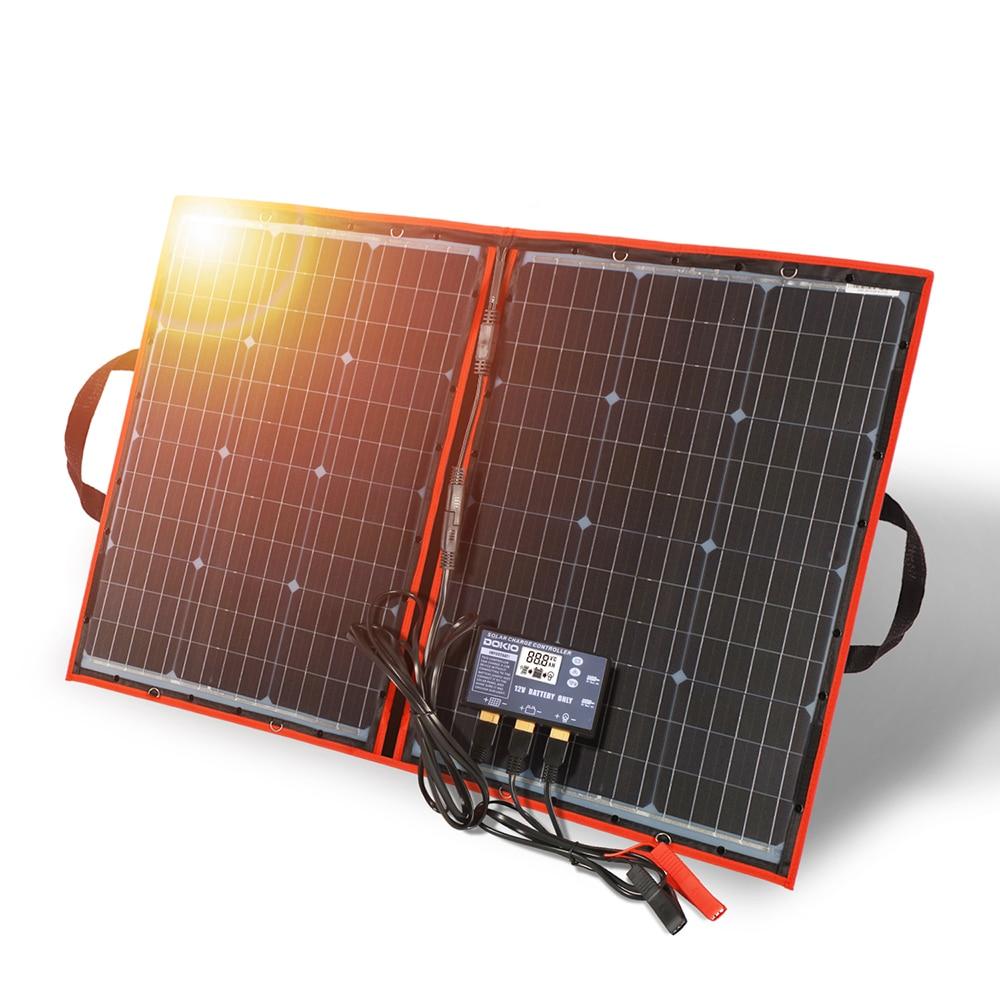 Dokio 100 W (50Wx2 uds) 12V paneles solares negros flexibles China plegable + 12V controlador 100 vatios paneles solares para la batería del coche