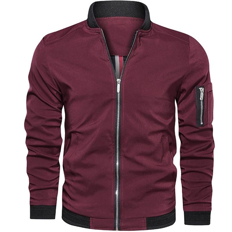 Мужская куртка, Мужская куртка-бомбер, приталенная Мужская одежда, повседневная ветровка, мужская куртка-пилот, зеленая тонкая мужская курт...