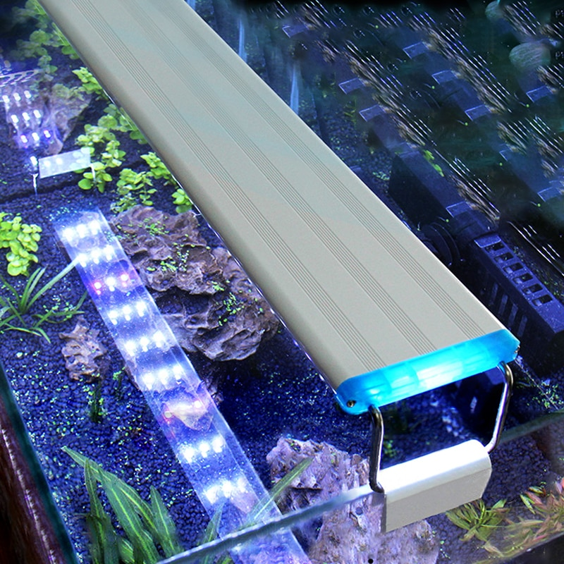 Aquarium LED Light Super Slim Fish Tank Aquatic Plant Grow Lighting Waterproof Bright Clip Lamp Blue LED 18-75cm for Plants 220v