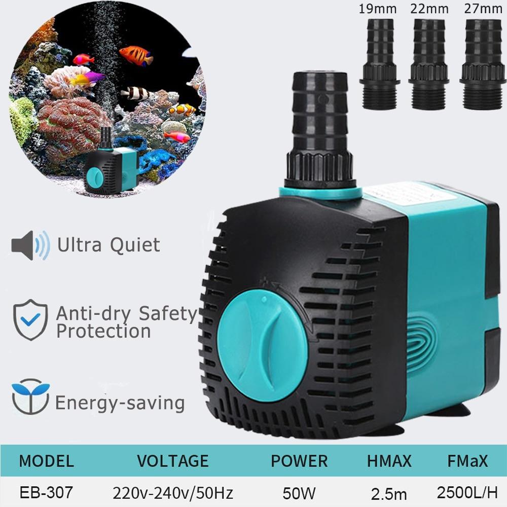 3/10/25/50w aquário bomba de água 220v-240v ultra-silencioso submersível fonte de água ajustável tanque de filtro da bomba da lagoa de peixes fonte