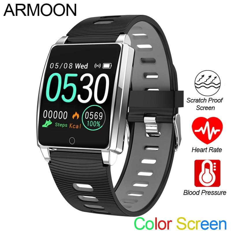 Reloj inteligente Android IOS pulsera de ritmo cardíaco rastreador de fitness de presión arterial cronómetro cuenta atrás Color impermeable banda deportiva