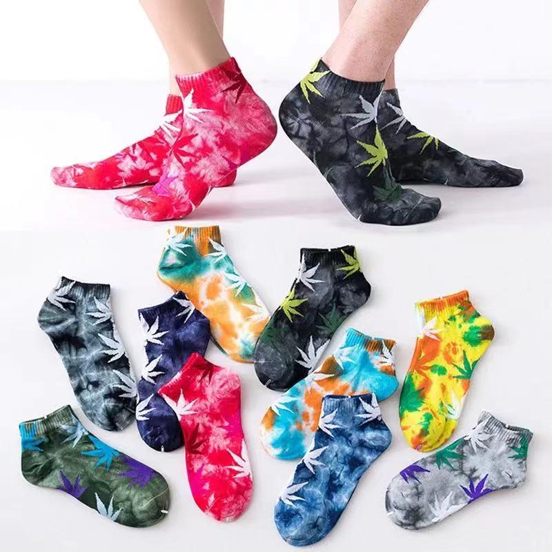 Носки Tie-dye, модные мужские носки, хлопковые Разноцветные Женские мягкие дышащие короткие носки до щиколотки, повседневные счастливые носки ...