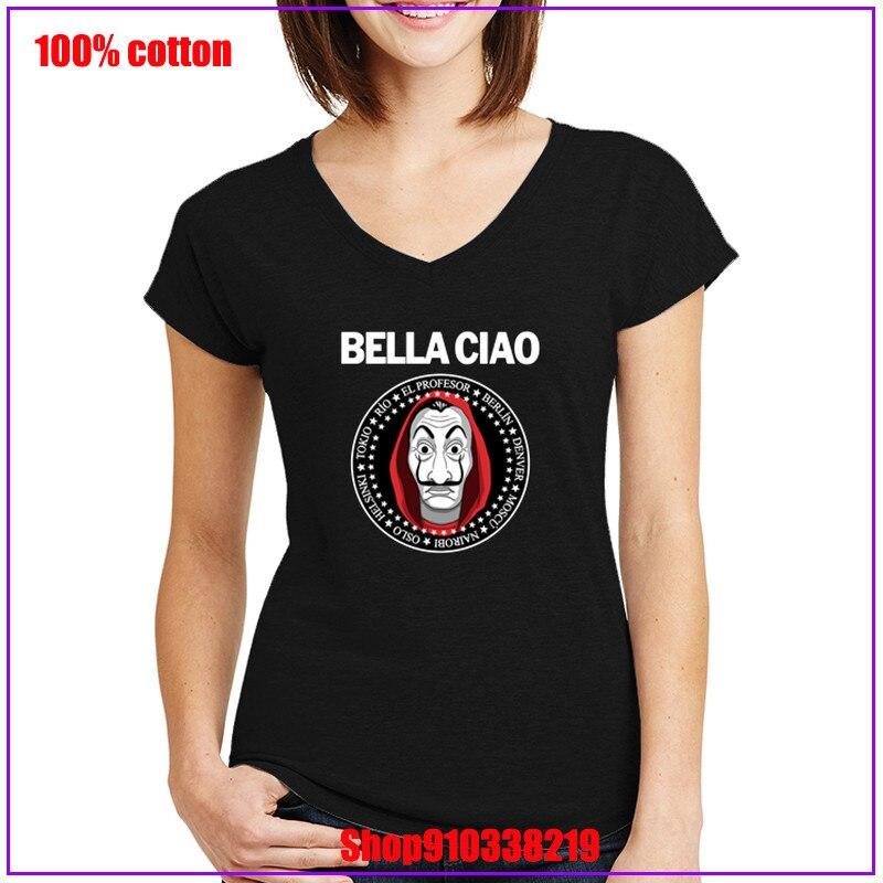 La Casa De Papel Geld Heist Bella Ciao weiß Lustige frauen Tees Geld TV Serie shirt frauen graphic tees ropa de mujer