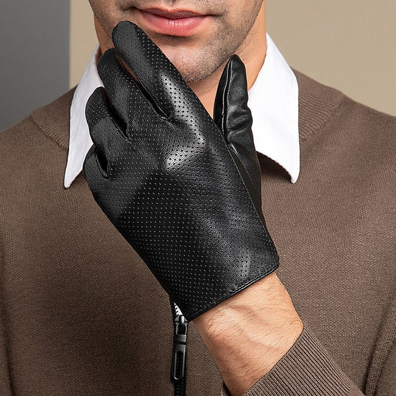 Перчатки мужские из натуральной овечьей кожи, тонкие дышащие кожаные перчатки с пальцами, перчатки для вождения, NR156, весна-осень