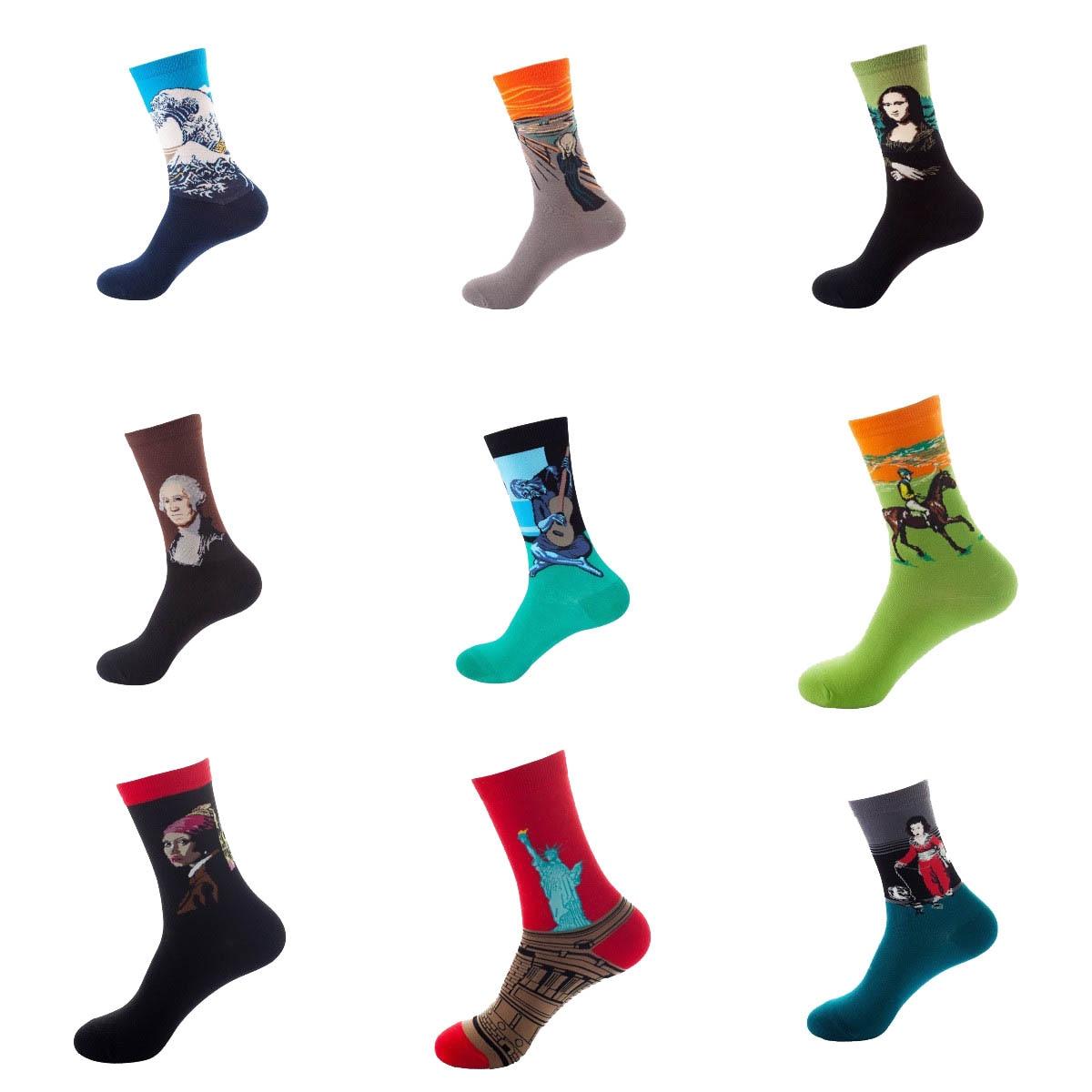 Новые вязаные носки Ван Гога, мужские хлопковые носки с подсолнухами, смешное милое искусство, счастливые красочные новые модные носки для ...