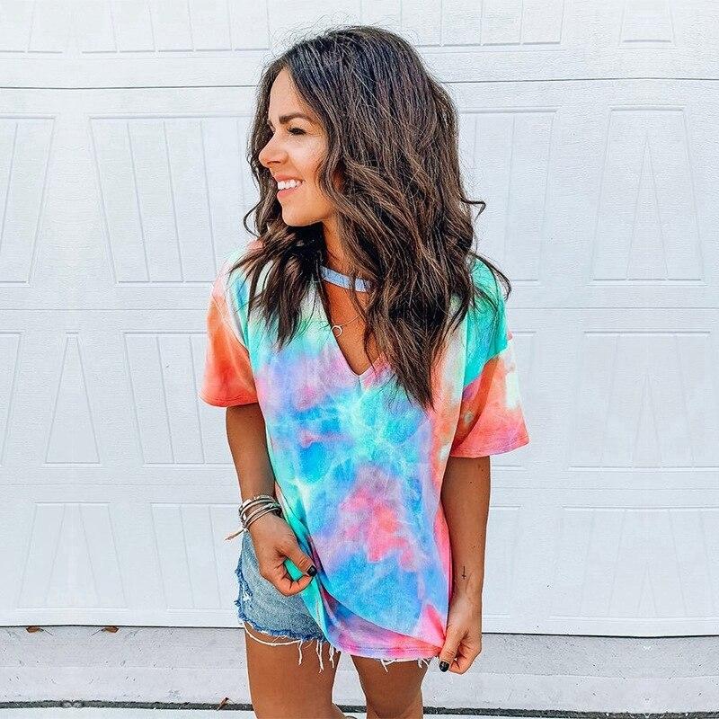 Tie dye gedruckt Sommer Frauen T-Shirts Plus Größe Casual Tops 2020 Mode Frauen Streetwear T Shirt weibliche Kurzarm T shirts