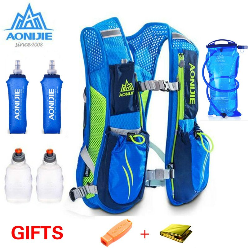 AONIJIE 5.5 L Women Men Bag Running Marathon Hydration Nylon Outdoor Running Bags Hiking Backpack Vest Marathon Cycling Backpack