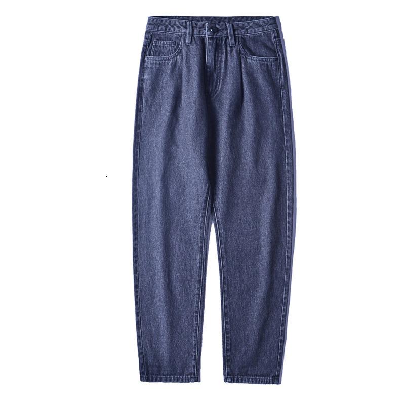 Men Streetwear Loose Hip Hop Denim Trousers Mens Jeans Men Fashion Washed Solid Color Cotton Casual Straight Jean Pants