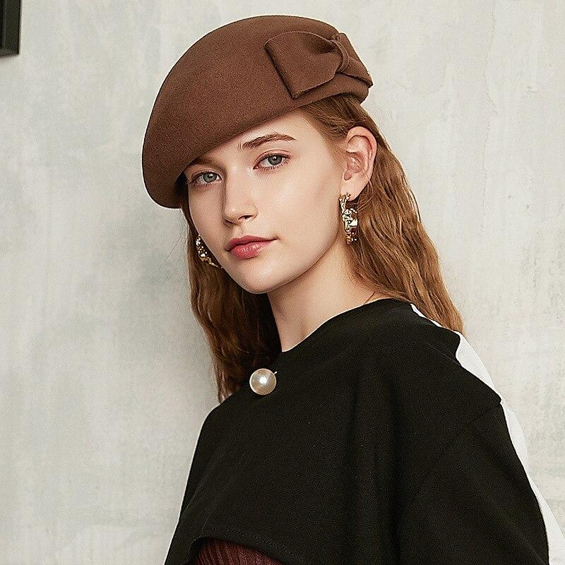 2021 Lady small size stewardess hat chic painter hat party new fedora cap ladies 100% Australia wool felt beret 52-55cm 55-57cm