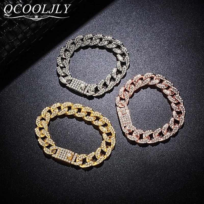 Pulsera QCOOLJLY a la moda para hombre, Eslabón cubano Miami, Color dorado, diamantes de imitación empedrados, pulsera masculina, joyería de calle para hombre