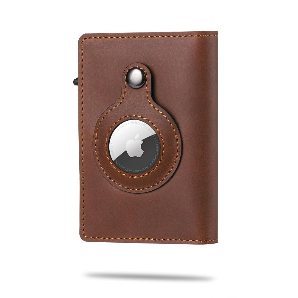 2021 Casekey High-quality Genuine Leather Airtags Anti-lost Protective Cover Stand RFID Blocking Mul