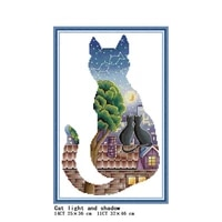 cat light and shadow diy animal cross stitch kit 14ct 11ct count canvas printing embroidery needlework home decoration painting