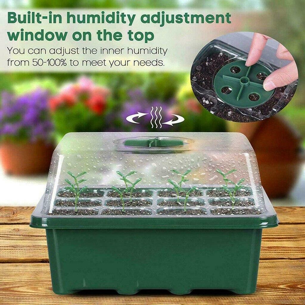 12 Hole Plastic Nursery Pots Planting Seed Tray Kit Cells Seed Tray Grow Box Seedling Starter Germin
