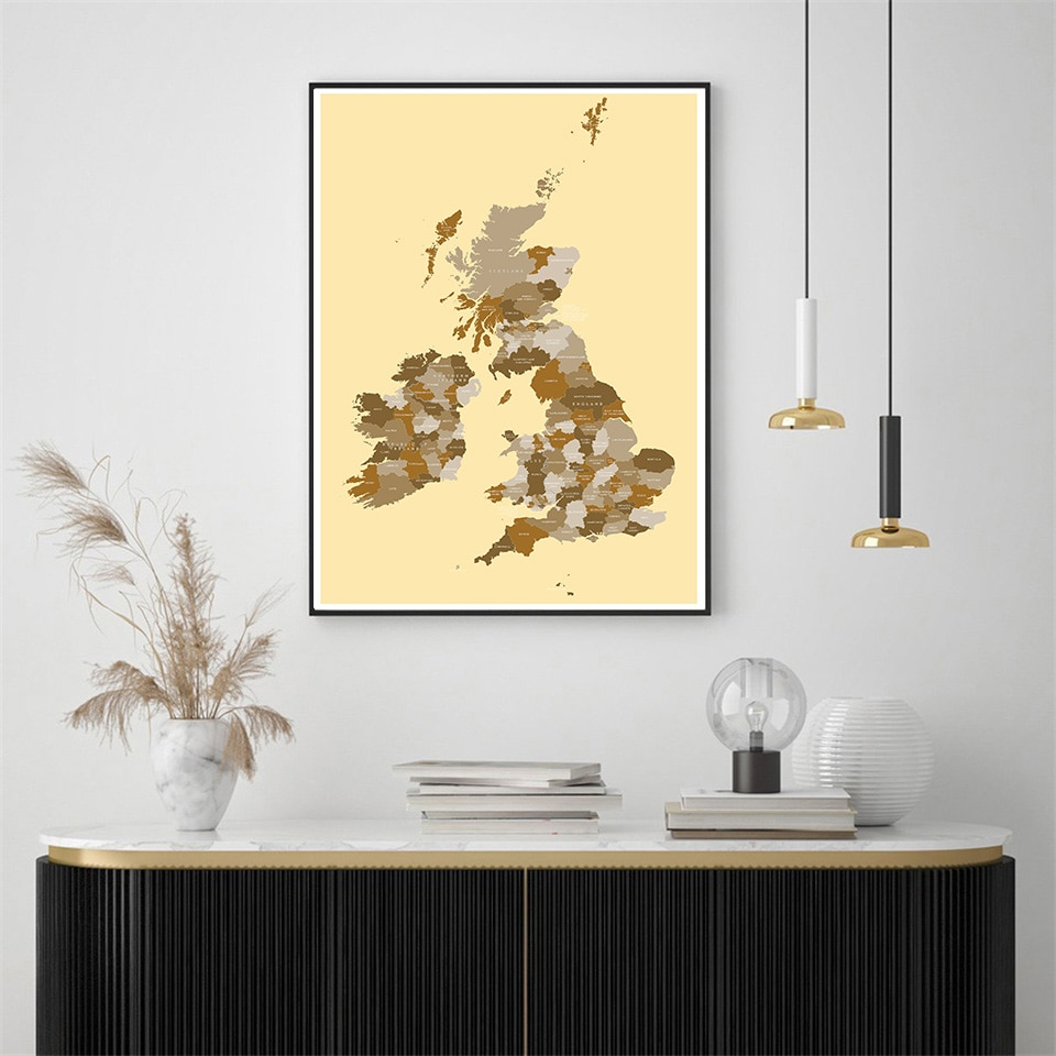 59*84cm The UK Vintage Map Decorative Wall Art Poster Eco-friendly Canvas Painting School Supplies Living Room Home Decoration