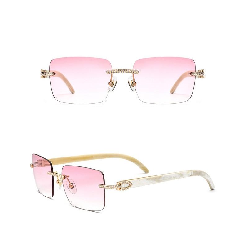 نظارات شمسية بضوء بصري طبيعي أسود أبيض بوفالو القرن حجر الراين مربع بدون إطار للرجال والنساء تصميم فريد من نوعه شحن مجاني 10070