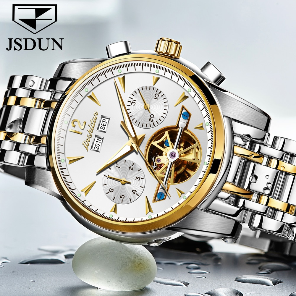JSDUN-ساعة رجالية ، ميكانيكية ، توربيون ، أوتوماتيكية ، متعددة الوظائف ، مضيئة ، تقويم ، مقاومة للماء