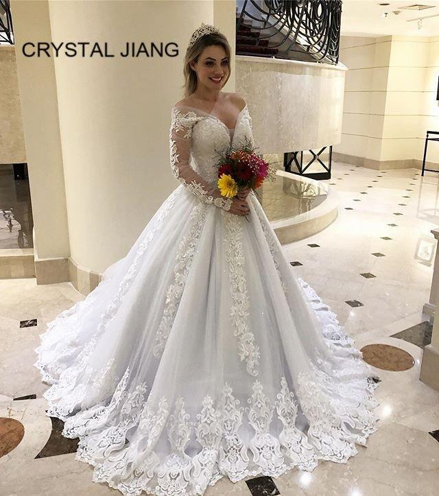 Simples elegante vestido de casamento mangas compridas rendas apliques sexy v pescoço batas para novias feito sob encomenda uma linha vestidos de noiva