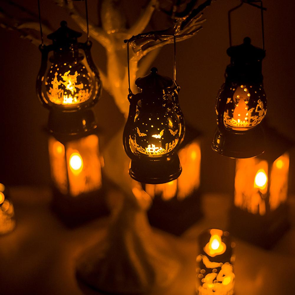 Pequeña lámpara de aceite Retro para Halloween, 1 unidad, decoración de Halloween para el hogar, Calavera, bruja, Araña, suministros para fiesta de terror, truco o trato