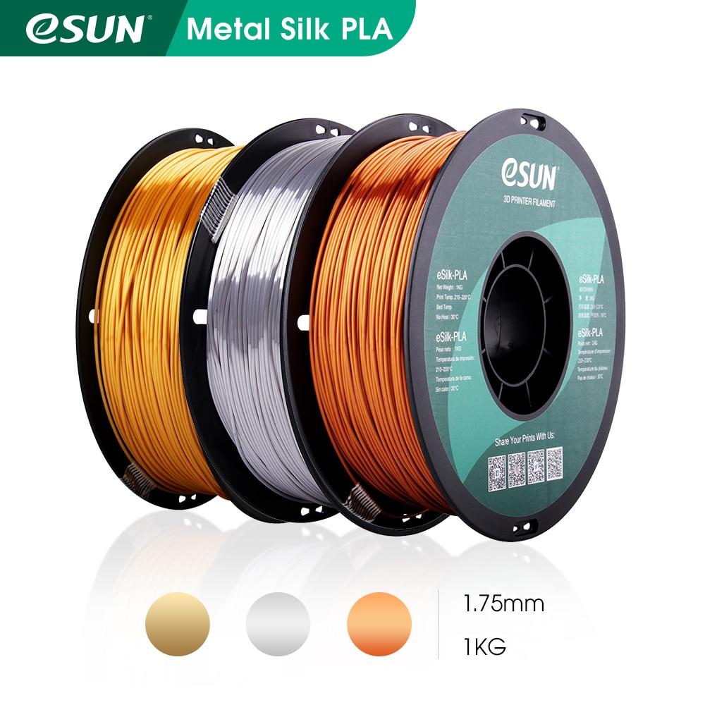 eSUN Silk PLA Filament 1.75mm Metal Silk PLA 3D Printer Filament 1KG (2.2 LBS) Spool 3D Printing  Materials for 3D Printers