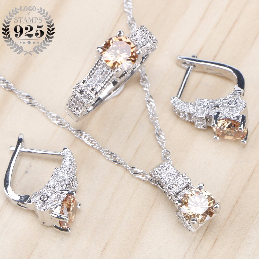 Bridal Jewelry Sets Zirconia Stone Earrings For Women Wedding 925 Sterling Silver Jewelry With Ring Pendant Necklace Set 925 sterling silver opal stone wedding bridal jewelry sets earrings for women costume jewelry pendant necklace ring set gift box