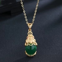 exquisite green gems pi xiu necklace for men women cocktail party necklace good lucky jewelry wealth feng shui accessories