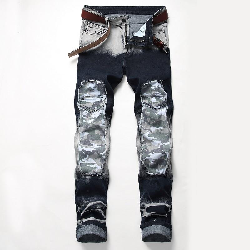 джинсы штаны мужские брюки мужские джинсы для мужчин 2021 ностальгия джинсы мужские рисунки Лоскутные женские модные брюки стрейч джинсы муж...